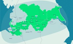 Map where the northern forest will be; from Liverpool to Hull